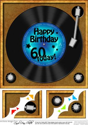 8 X 8 60th Birthday Record Scalloped Corner Topper