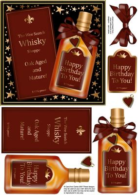 Birthday Whisky Quick Card With 3d Decoupage Cup216274