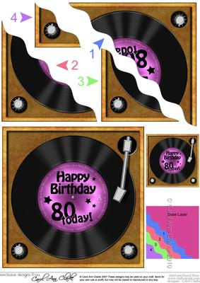 80th Birthday Record Wavy Corner Side Stacker Topper