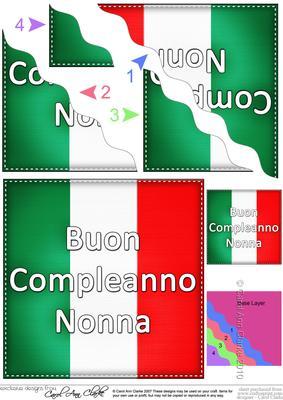 flying the flag italian happy birthday grandma  cup, Birthday card