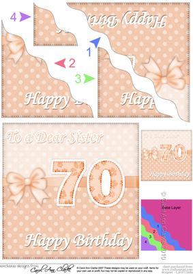 70th Birthday Sister Felties Wavy Corner Side Stacker Topper