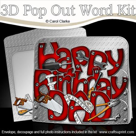 3D Birthday Dad Tools Pop Out Word Card Kit