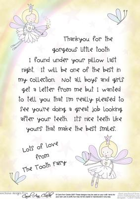 picture relating to Tooth Fairy Letter Printable called Letter in opposition to the Teeth Fairy