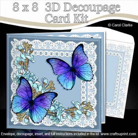 8 X 8 Butterflies Flowers N Lace Kit With 3d Decoupage