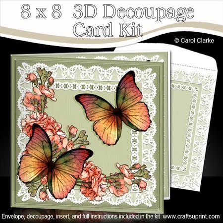 8 x 8 butterflies flowers n lace kit with 3d decoupage