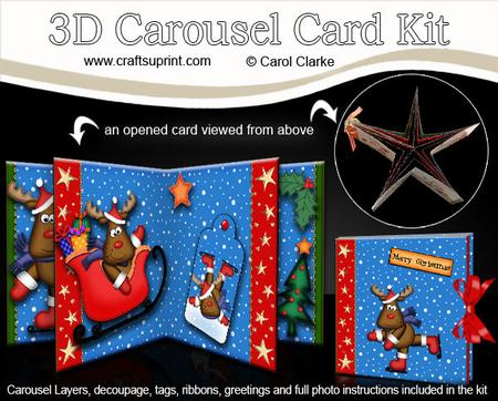 3D Christmas Rudolph Carousel Card Kit