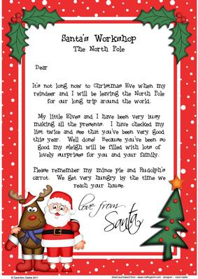 christmas santa rudolph a4 childs letter from santa