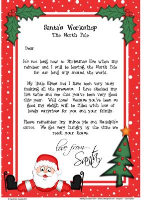 Christmas Skating Santa A4 Child's Letter from Santa ...