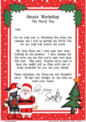 letter to child about santa santa amp scottie a4 child s letter from santa 23188