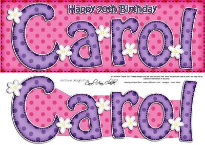 Large Dl 70th Birthday Carol Quick Card N 3D Decoupage
