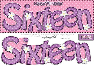 16th Birthday Large Dl Quick Card N 3D Decoupage