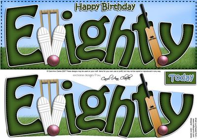 80th Birthday Large Dl Quick Card N 3D Decoupage