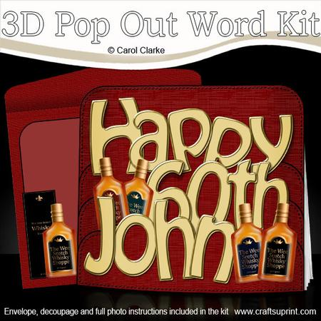 3d 60th Birthday John Whisky Pop Out Word Card Cup474489