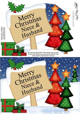 Merry Christmas Niece.Xmas Personalised Niece Husband A5 Quick Card 3d Decoupage