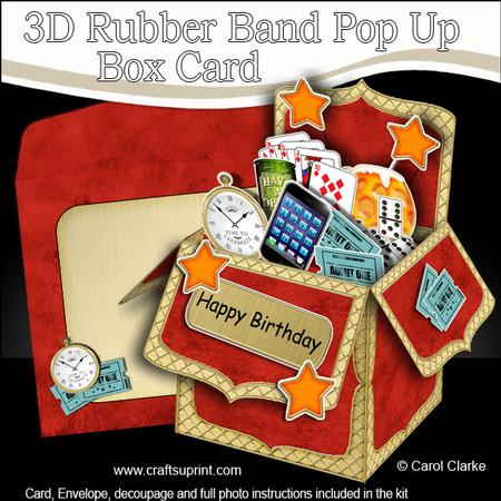3d just for men rubber band pop up box card cup527531 for Pop up card craft