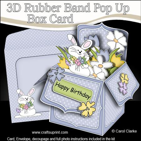 3d Little Bunny Rubber Band Pop Up Box Card Cup529152