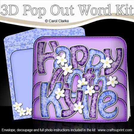 3D 40th Birthday Kylie Flowers Pop Out Word Card