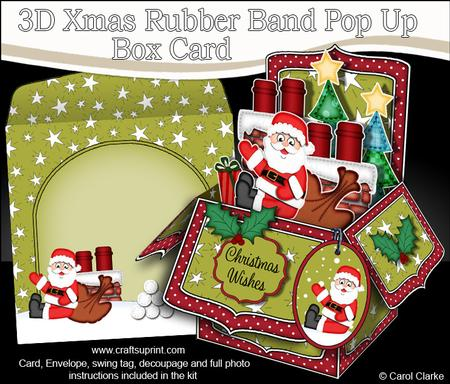 3d Xmas Rooftop Santa Rubber Band Pop Up Box Card