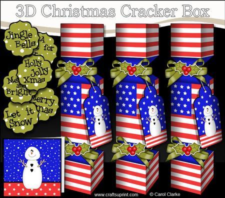 3D Usa Stars & Stripes Flag Christmas Cracker Boxes ...