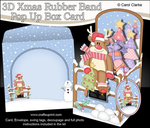3d Christmas Rubber Band Pop Up Box Card Rudolph Has A Christmas