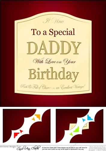 Daddy Fathers Day Wine Label Wavy Corner Side Stacker Topper by Carol Clarke