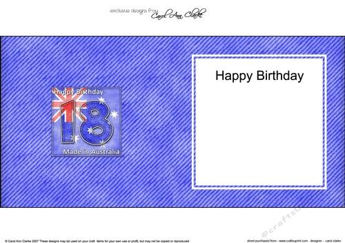 Flying The Flag AUSTRALIA 18th Birthday Square Landscape