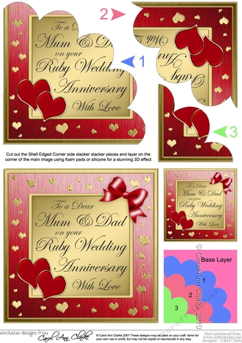 Elegant Hearts Ruby Wedding Anniversary Fan Pyramage by Carol Clarke