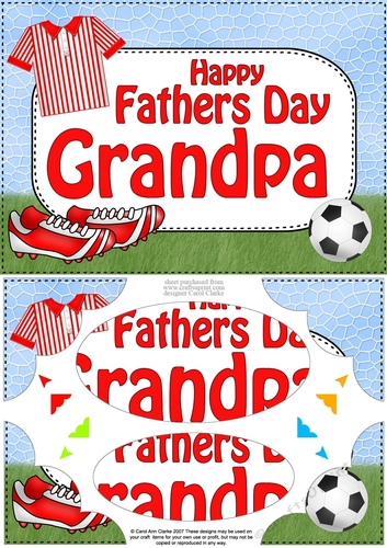 A5 Happy Fathers Day Grampy Football Oval Pyramage Topper by Carol Clarke