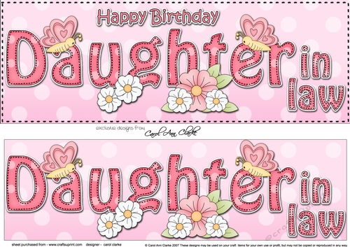 Large DL Happy Birthday DAUGHTER IN LAW 3D Decoupage