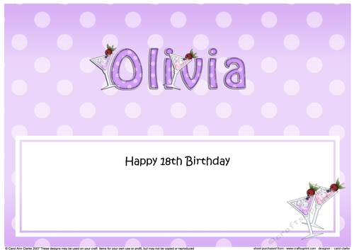 Fabulous Large Dl Happy 18Th Birthday Olivia Insert Cup885570 359 Funny Birthday Cards Online Alyptdamsfinfo