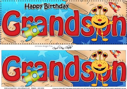 Large DL Happy Birthday GRANDSON 3D Decoupage
