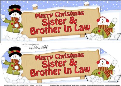 Merry Christmas Sister.Large Dl Merry Christmas Sister Brother In Law With Snowman Insert