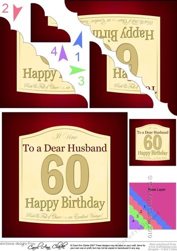 60th Birthday Husband Wine Label Scalloped Corner Stacker