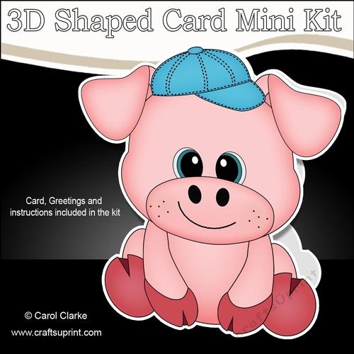 3d shaped card kit cute little ziggy piggy cup906676 359