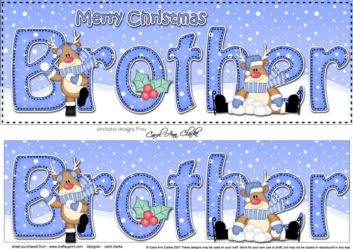 Merry Christmas Brother.Large Dl Merry Christmas Brother 3d Decoupage