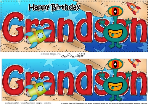 Large DL Happy Birthday GRANDSON With Aliens 3D Decoupage