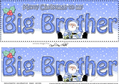 Merry Christmas Brother.Large Dl Merry Christmas Big Brother 3d Decoupage With Santa