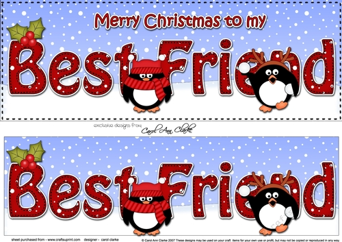 Merry Christmas My Friend.Large Dl Merry Christmas To My Best Friend 3d Decoupage With Penguins