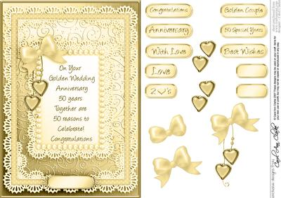 A5 Golden Wedding, Lace and Pearls Quick Card 3D Decoupage ...