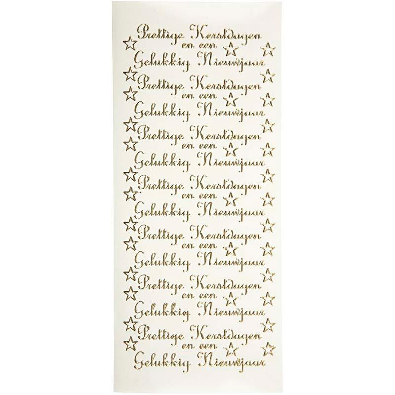 Peel Off Stickers Sheet 10x23 Cm Gold Prettige Kerstdagen