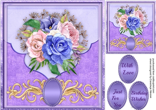 beautiful lilac envelope card with roses  cup7253851398