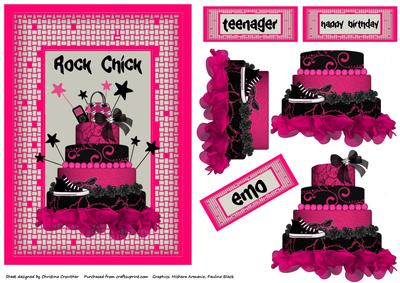 Marvelous Rock Chick Black Hot Pink Cake Teenager Emo Birthday Birthday Cards Printable Nowaargucafe Filternl