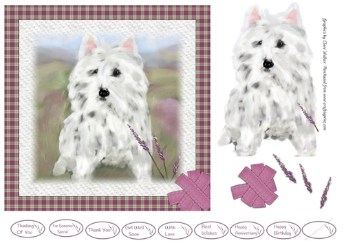 Westie In The Heather 7x7 Quick Birthday Card Front With Westie
