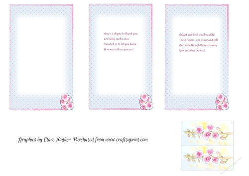 Hollyhocks Polka Dots 3 Inserts To Fit 4x6 Cards 1 Blank 2 With