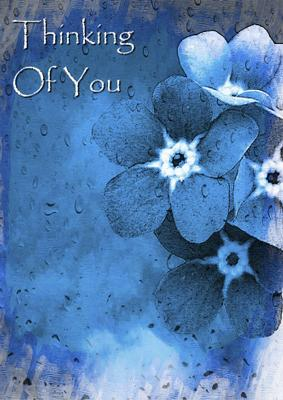card creator blue flowers in the rain thinking of you sympathy
