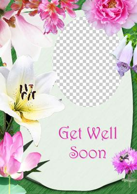 Card Creator Floral Frame Get Well Soon Photo Card