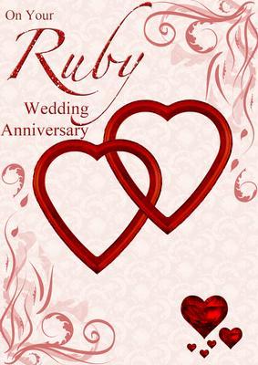card creator ruby wedding anniversary hearts entwined card