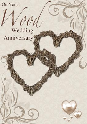 card creator wood wedding anniversary hearts entwined card