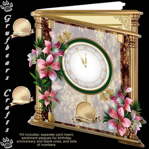 Glass and Brass Clock Card - Peruvian Lily