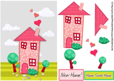 Home Sweet Home New Home Decoupage Sheet CUP - New home clipart